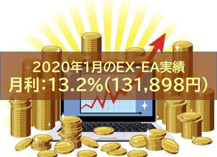 【月報】2020年1月のEX-EA実績 月利:13.2%(131,898円)