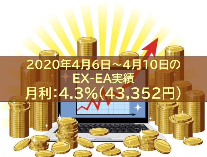 【週報】2020年4月6日~4月10日のEX-EA実績 週利:+4.3%(43,352円)