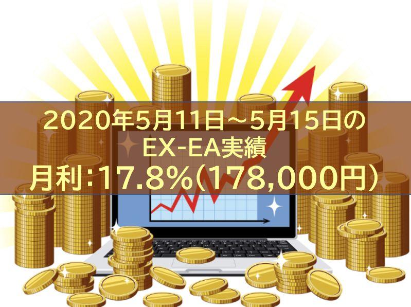 【週報】2020年5月11日~5月15日のEX-EA実績 週利:17.8%(178,000円)