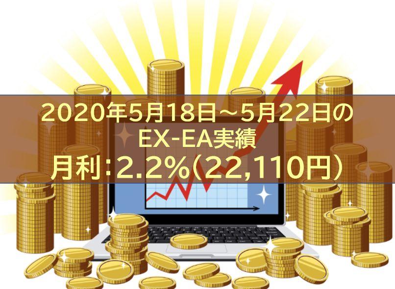 【週報】2020年5月18日~5月22日のEX-EA実績 週利:2.2%(22,110円)